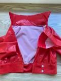 Herbst Sexy Red Button Langarm-Kragen Top