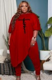 Herbst Plus Size Rote Puffärmel Unregelmäßiges Top und Enge Hose Set