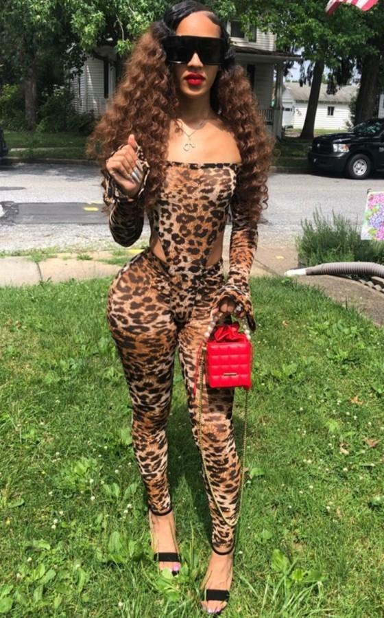 Herbst Sexy Leopardenmuster Schulterfrei Langarm Top und Hose Set