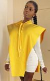 Herbst beiläufige gelbe Hoodies mit ärmelloser Bluse aus Kord