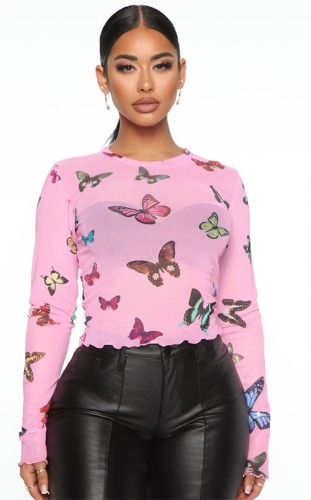 Autumn Sexy Pink Butterfly Print Long Sleeve Crop Top