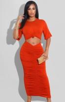 Sommer Casual Orange-Rot Kurzarm Crop Top und Rüschen Langes Kleid Set