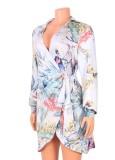 Herbst-Blumendruck-Langarm-Shirt-Kleid mit Gürtel
