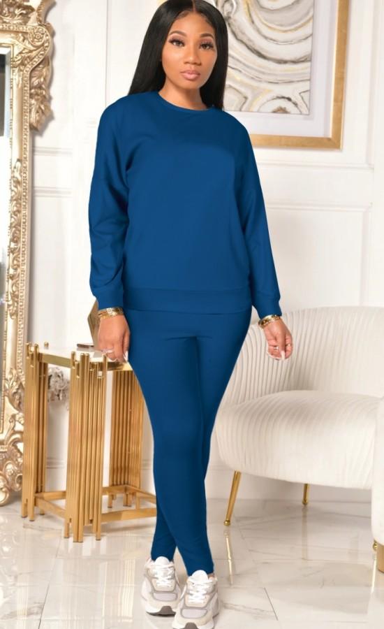 Herbst Casual Blau Langarm Top und Hose 2 Stück Set