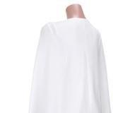 Herbst Sexy weißes ärmelloses, figurbetontes Kleid mit Cape