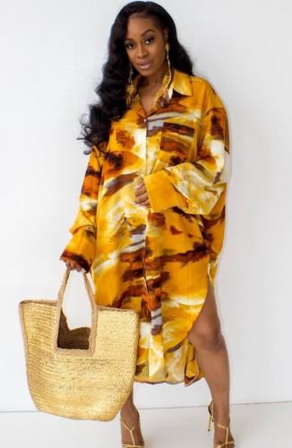 秋の因果プラスサイズプリントロングシャツドレス