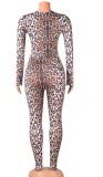 Herbst Sexy Leopard Print Aushöhlen Langarm Overall