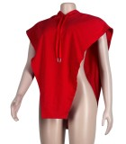 Herbstliche lässige rote Hoodies mit ärmelloser Bluse aus Kordel