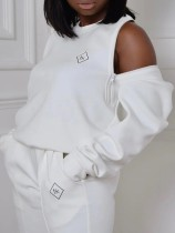 Herbst Causal Plus Size Weiß Reißverschluss Schulter Langarm Top