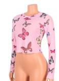 Herbst Sexy Pink Butterfly Print Langarm Crop Top