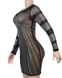 Herbst Sexy Strass Langarm Bodycon Kleid