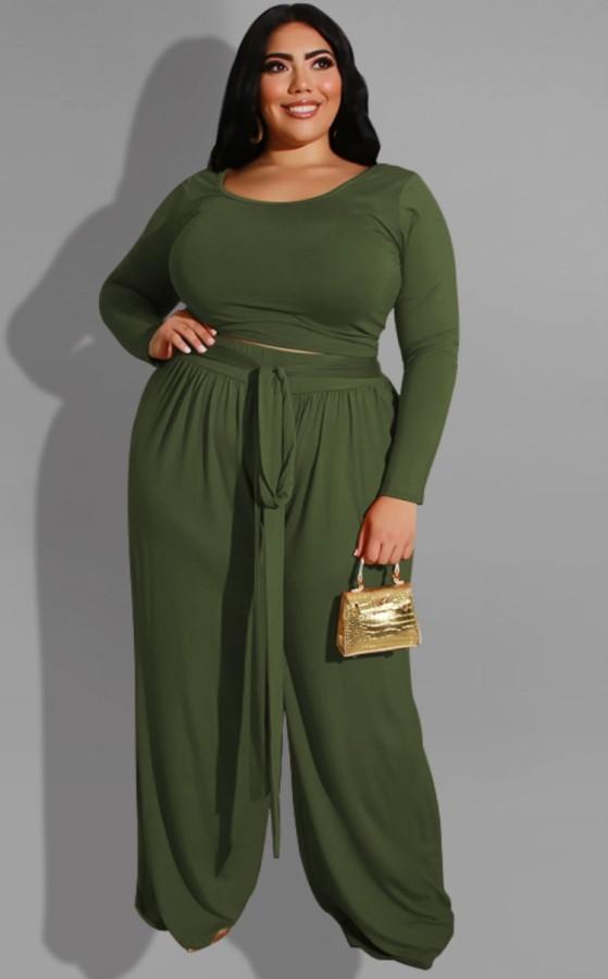 Herbst-Plus Size Grünes Langarm-Oberteil und Hose mit Gürtel-Set