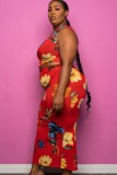 Sommer Plus Size Print ärmelloses Top und langes Kleid Set