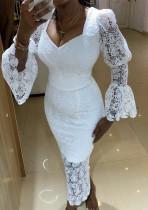 Vestido largo de encaje con parte inferior de manga larga de encaje blanco de verano