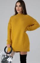 Suéter largo de manga larga con cuello redondo amarillo de invierno