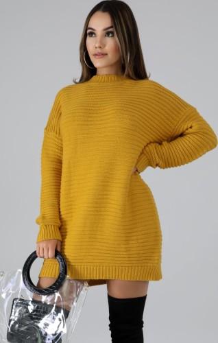 Winter Yellow Round-Neck Long Sleeve Long Sweater