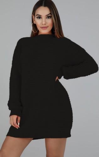 Winter Black Round-Neck Long Sleeve Long Sweater