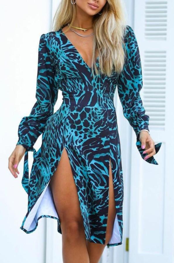 Herbst Sexy Blue Leopard Print V-Ausschnitt Langarm Midikleid