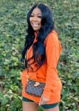 Herbst Kausal Orange Langarm Hoddie