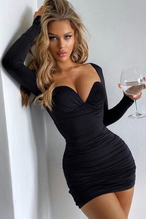 Herbst Sexy Schwarz Langarm Bodycon Kleid