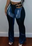 Herbstblaues Bandageband an der Taille mit kontrastierender Patch-Hose