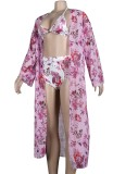 Sommer Sexy Print Badeanzug mit langem Mantel 3-teiliges Set