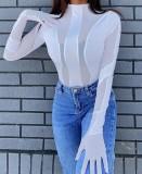 Herbst Sexy Weiß Durchsichtig Rundhals Langarm Bodysuit