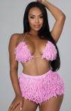 Herbst Sexy Pink Tie Neck Triangel BH Top und Mini Shorts Set