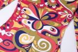 Herbstliches Langarm-Maxikleid mit Print