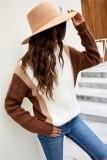 Herbstbraune, kontrastierende, langärmlige Pullover mit Rundhalsausschnitt