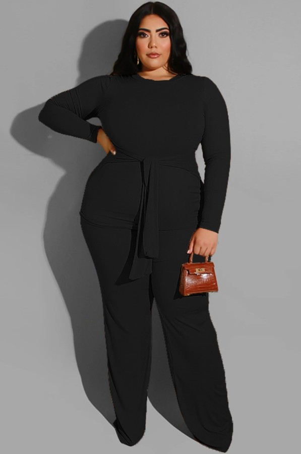 Herbst Plus Size Schwarzes Langarm-Set aus langem Oberteil und Hose mit Gürtel