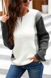 Herbstgraue, kontrastierende, langärmlige Pullover mit Rundhalsausschnitt