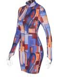 Herbst Block Pint mit Reißverschluss Langärmliges, figurbetontes Kleid