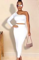 Herbst Sexy weißes One-Shoulder-Crop-Top und langes Kleid-Set