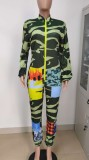 Herbst-Armee-Print Patched Work Langarm-Overall
