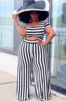 Summer Plus Size Stripe Crop Top y conjunto de pantalón suelto