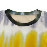 Herbst-Set mit Tie-Dyed-Langarmshirt und Hose in Übergröße in Übergröße