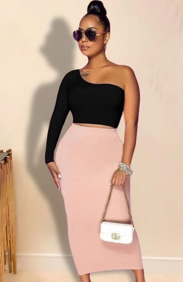 Herbst Sexy Kontrast One Shoulder Crop Top und langes Kleid Set