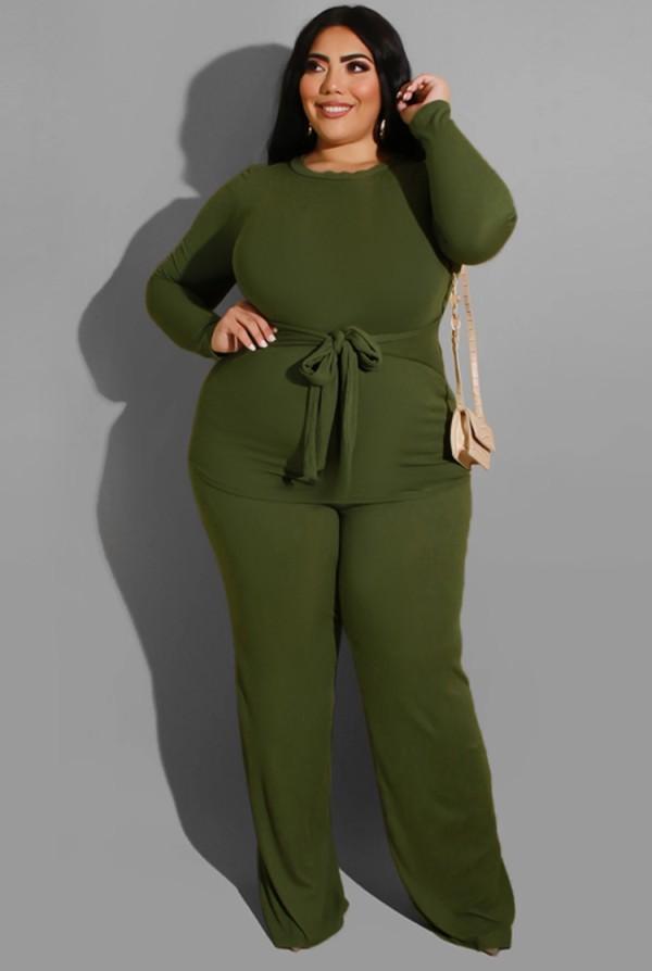 Herbst Plus Size Grünes Langarm-Set aus langem Oberteil und Hose mit Gürtel