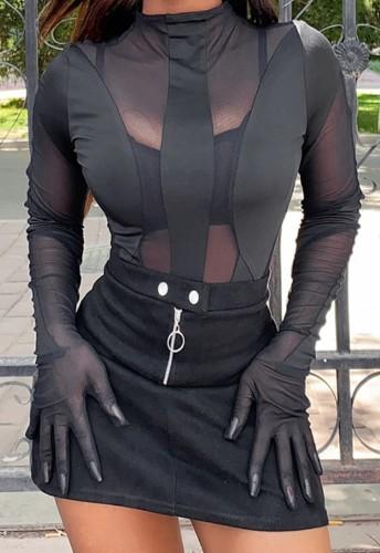 Body de manga longa outono sexy preto transparente com decote redondo