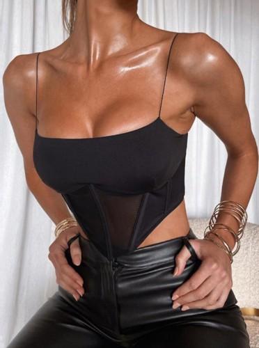 Top de alças pretas sexy de verão