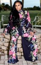 Autunno nero floreale Midi collo manica svasata Top e pantaloni larghi a vita alta Set