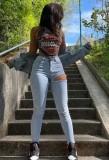Herbst Hellblaue Slim Jeans mit zerrissenen Löchern und hoher Taille