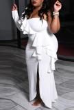 Herbst Plus Size Weiß Single Shoulder Split Rüschen Abendkleid