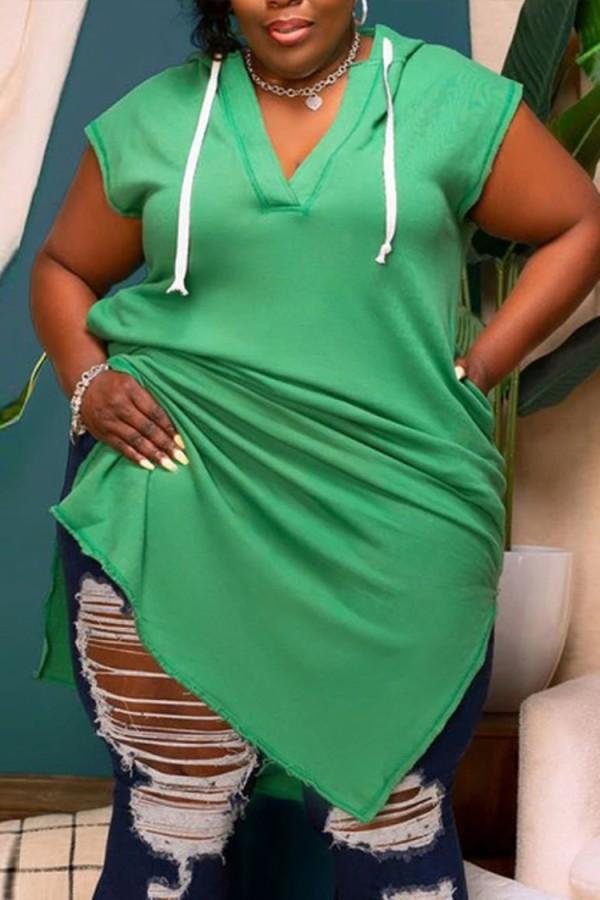 Sommer Plus Size Grün V-Ausschnitt Hoody Casual Dress