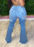 Herbstblaue, zerrissene, ausgehöhlte Front-Jeans mit geteiltem Knoten