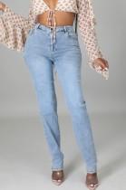 Jeans slim a vita alta semplici azzurri autunnali