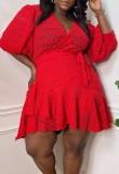 Sommer Plus Size Rotes Wickelminikleid mit Puffärmeln und Gürtel