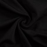 Herbst Sexy Schwarz Ausschnitt Rundhals Pads Langarm Club Kleid
