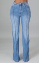 Jeans altos Wasit de retazos celestes de otoño